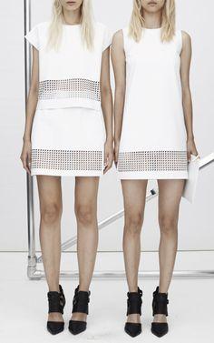 New York Fashion Week, preorder Zoë Jordan Spring 2015 Runway Trunkshow Look 3 - Leather Linz Dress, Leather Alta T-Shirt In Chalk and Leather Montfort Skirt