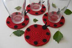 crochet ladybug coaster