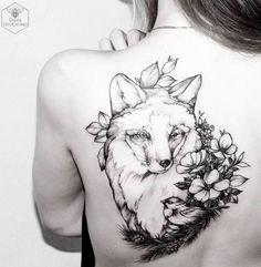 Beautiful blackwork fox tattoo on back shoulder by Diana Severinenko