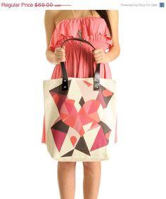 Spring Fashion Geometric Tote Bag Spring Shoulder by KlothoBags