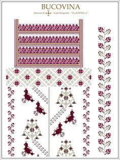 pentru concursul de cusut 2015 - 2016 = IA AIDOMA 003  ce apare a fi cusut cu gri, se coase de fapt cu alb (dar altfel nu aveam cum sa fa... Cross Stitch Borders, Cross Stitch Designs, Cross Stitch Patterns, Embroidery Motifs, Embroidery Designs, Craft Patterns, Beading Patterns, Weaving, Handmade