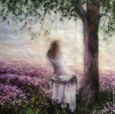 Купить Картина из шерсти Лавандовые сны, - сиреневый, картина из шерсти, картина шерстью, живопись шерстью