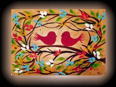Red Birds and Flowers Painting on Canvas