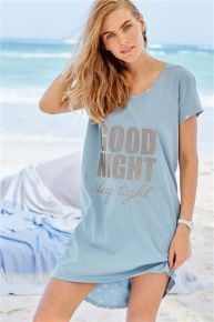 Blue Jersey 'Good Night' Nightie