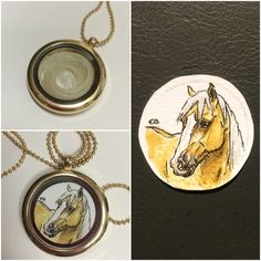 Custom necklace watercolor painting pen drawing horse hair memory locket