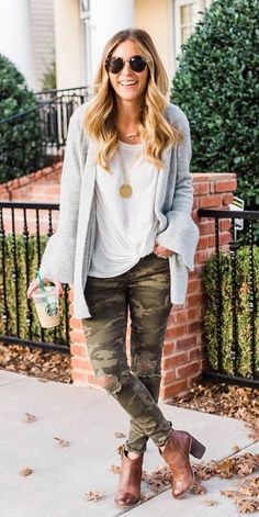#fall #outfits women's grey long-sleeved cardigan and white scoop-neck top. Click To Shop This Look.
