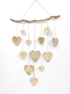 Nature and modern wall decor handmade wood mobile made up of different local Woods natural wooden hearts Diy Air Dry Clay, Diy Clay, Nursery Wall Decor, Diy Wall Decor, Diy Embroidery Shirt, Diy Room Decor For Teens, Branch Decor, Hanging Hearts, Modern Wall Decor