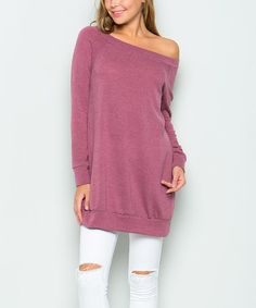 Mauve Off-Shoulder Tunic #zulily #zulilyfinds
