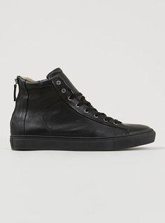 'Tux Zip Boot' Black Leather hi-top boots