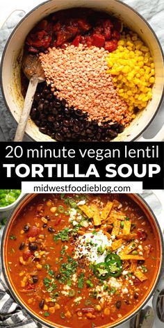 This creamy, flavor-forward, Vegan Lentil Tortilla Soup is the perfect quick and easy weeknight dinner! It takes just 20 minutes to throw together and uses just a handful of pantry staple ingredients. Vegan Dinner Recipes, Veggie Recipes, Whole Food Recipes, Soup Recipes, Vegetarian Recipes, Cooking Recipes, Vegetarian Tortilla Soup, Vegan Tortilla, Easy Lentil Recipes