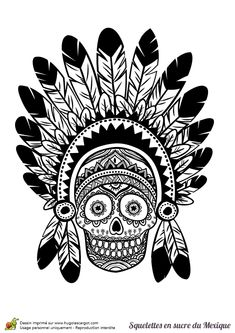 Un crâne d'indien à colorier.