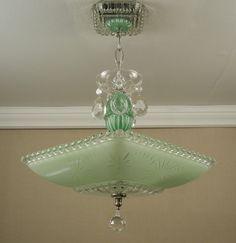Vintage American Art Deco GREEN STARBURST CANDLEWICK Glass Ceiling Light Lamp Chandelier Rewired