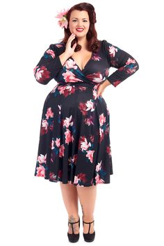 Our most popular Lady Voluptuous Dress is back at Lady V in collection of beautiful Autumnal. Lady V, Plus Size Dresses, Vintage Dresses, Floral Clothing, Cold Shoulder Dress, London, Autumnal, Trending Outfits, Elegant