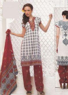 Gorgeous White Color Dress Material Printed Lawn Cotton Unstitched Salwar Kameez Suit D.no 4016