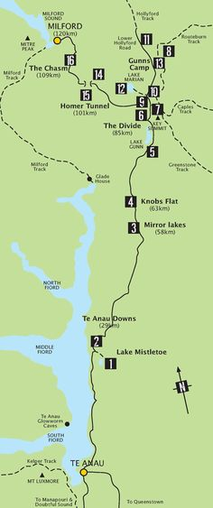 Route Map to Milford Sound from Te Anau - New Zealand