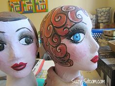 How to make handpainted paper mache mannequin heads. Cute idea to hold your hats or headbands! Paper Mache Head, Paper Mache Crafts, Mannequin Art, Vintage Mannequin, Paper Clay, Paper Art, Diy Paper, Crafts To Make, Fun Crafts