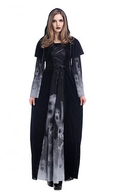 It's a great option for one of the all-time most popular Halloween costumes! And it's great to stretch, durable and also comfortable to wear. Season: Fall, Winter Gender: Women Style: Vintage Material: Polyester Sleeve Length: Full Pattern Type: Print Dress Length: Floor-Length Decoration: None What you get: 1 X Dress, 1 X Cloak Cape Occasion: Halloween, Cosplay Party Package Content: 1 x Halloween Costumes