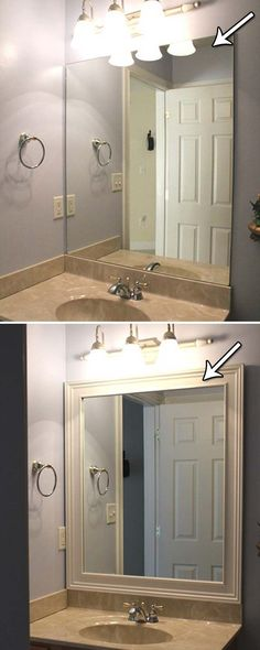 pretty framing a bathroom. Framing your bathroom mirror with simple stock molding and wooden  embellishments DIY Bathroom Mirror Frame for Under 10 Blue wood stain
