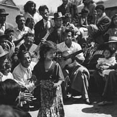 """Street Gypsy musicians-Guitarists. France. A photo from Otto Daettwyler's and Mateo Maximoff's book """"Tsiganes"""". 1959."""