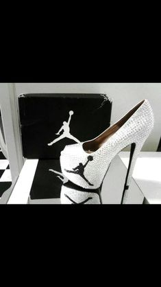 So I have allot of Jordan shoes but not Jordan heels. Cute Heels, Sexy Heels, High Heels, Stilettos, Sparkly Heels, Jordan 4, Michael Jordan, Jordan Logo, Jordan Nike