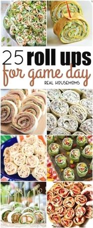 25 Roll Ups for Game Day. Finger foods, football games, pinwheel appetizers, party menu, crowd go wild! party food appetizers 25 Roll Ups for Game Day Tapas, Finger Food Appetizers, Appetizers For Party, Appetizer Ideas, Finger Foods For Parties, Easy Finger Food, Beach Appetizers, Finger Food Menu, Christmas Appetizers