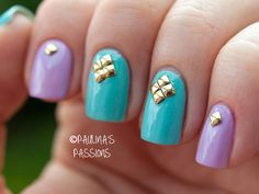 Purple and Blue Studded Nails