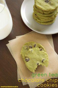 GREEN TEA CHOCOLATE CHIP COOKIES (make 35 cookies)  ~~~~~  flaxseed meal, water, all-purpose flour, green tea matcha powder, baking powder, salt, sugar, applesauce, butter, chocolate chips