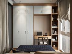 quarto pequeno e cheio de armários