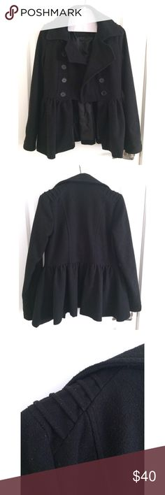 Black Winter Coat Peacoat style jacket. Worn once. Has been washed and has fuzzies on the exterior. In great condition! C Magic Jackets & Coats Pea Coats