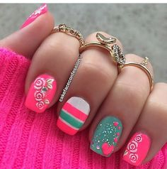 Pink and teal nails