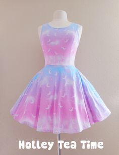 ☆ This item is a made to order skater dress. The dress will be manufactured printed, cut and sewn in the factory and then will be delivered to you. Time to manufacture the dress is 5-8 weeks before shipping out.  ☆ A cute dress that can be dresses up or worn as casual wear. Perfect for fairy ke...