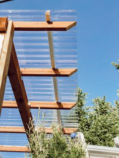 DIY Clear Corrugated Covered Pergola Attached to the House and an Existing Deck – Rain and Pine Pergola Attached To House, Deck With Pergola, Covered Pergola, Outdoor Pergola, Backyard Pergola, Patio Roof, Outdoor Rooms, Backyard Landscaping, Outdoor Decor