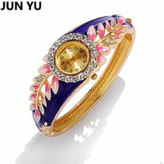Leaf 18K Gold Luxury Women Watch Colorful Abstract Enamel Paint Crystal Rhinestone Bangle Wristwatches