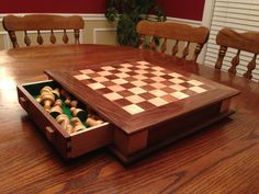Chess Board made from Maple and Walnut. Thanks Steve Ramsey