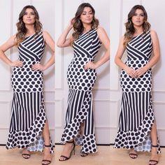 Aquele vestido de poa maravilhoso ♥️. . . . Como comprar ?? WhatsApp :. ⚜️Mega moda... 📞(62) 99618-5946 Dielma 📞(62)9968-7819 Raiza. .… Brown Evening Dresses, Dress Patterns, Casual, Fashion Dresses, Stripes, Gowns, Outfits, Clothes, Flora
