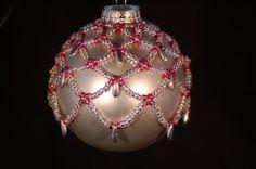 Hand Beaded Christmas Ornament. $25.00, via Etsy.