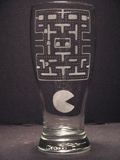 Pac Man Inspired Pilsner Engraved Glass by WastedTalentDesigns, $20.00