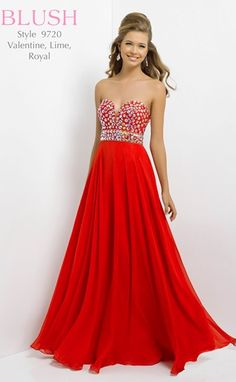 Rock the dance floor in this fabulous red prom gown design by Blush Prom