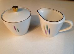 Adorable Mid Century porcelain cream and sugar dishes German fine china by REimagineStudio on Etsy https://www.etsy.com/listing/155316822/adorable-mid-century-porcelain-cream-and