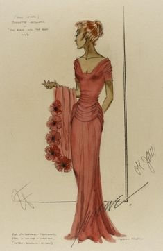 1940's costume sketch for Jeanette MacDonald in Three Daring Daughters