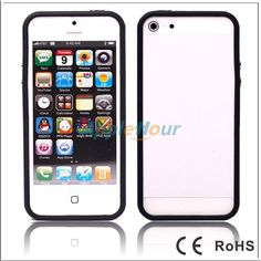 Stylish TPU Soft Clear Case Cover with metal button Bumper For Apple iPhone 5