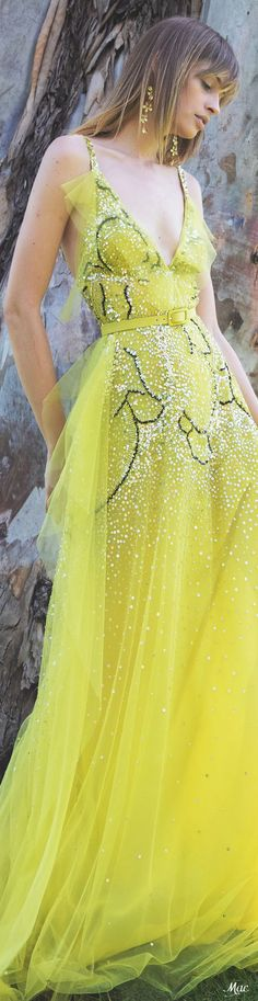 Resort 2022 Elie Saab Canary Yellow Dress, Formal Wear, Formal Dresses, Elie Saab Couture, Ellie Saab, Chiffon Maxi Dress, Fabulous Dresses, Print Chiffon, Resort Wear