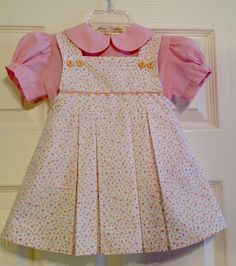 """The pattern is """"Morgan"""" by The Children's Corner in a size 2. Fabrics from Fabric Finders."""