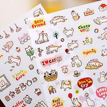 Free Shipping Creative Cute PVC Cat Sticker for DIY Scrapbooking Diary Phone Sticker Products design paster kawaii stationary(China (Mainland))