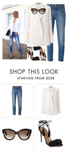 """""""Laid back vibes"""" by conceptseasons ❤ liked on Polyvore featuring 7 For All Mankind, By Malene Birger, Valentino, Aquazzura, white, bymalenebirger, 7forallmankind, SS15 and conceptseasons"""