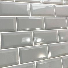 Metro Grey Gloss Bevelled Brick wall tile | 10x20cm Ceramic Planet Brick Tiles Kitchen, Metro Tiles Kitchen, Grey Wall Tiles, Grey Brick, Victorian Bathroom, Small Space Storage, Bright Kitchens, Smooth Walls, Traditional Bathroom
