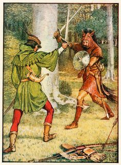 Robin Hood and Guy of Gisborne. Illustration from Robin Hood and the Men of the Greenwood by Henry Gilbert (Jack, c 1912).