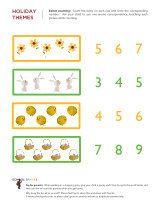 Kindergarten worksheets - Easter math worksheets 1
