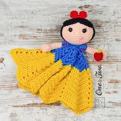 Combo Pack Snow White Lovey and Amigurumi Set by oneandtwocompany