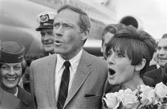 """Audrey Hepburn with Mel Ferrer, Schiphol Airport in Amsterdam, 1966. They were in Amsterdam for two reasons: Audrey to an action in prol UNICEF for the release of her latest film """"How to Steal a Million"""" and Mel for the premiere of her new movie """"El Greco""""."""